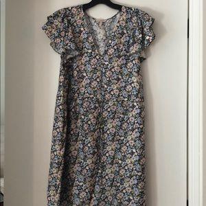 Rebecca Taylor Floral Silk Flutter Sleeve Dress